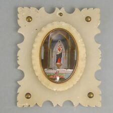 Miniature églomisé Notre Dame des Flots cadre en albâtre