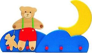 Garderobe Bär mit Mond Kindergarderobe Holzgarderobe Bajo Kinderzimmer Holz