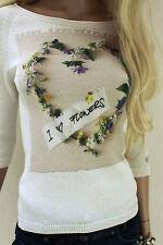 MARCCAIN Damen Pullover Baumwolle N2 36 S weiß mit FLOWERHERZ