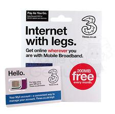 Tre 3g 4g pagamento a servizio PAYG dati Triple TAGLIO SIM Card - 200mb gratis ogni mese