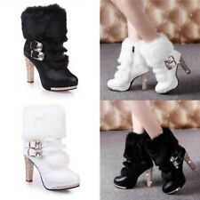 Women Plush Faux Fur Ankle Boots Platform Zip Up Buckle Glitter Block Heel Shoes