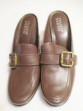 """FRANCO SARTO Womens Slip-On/Mules 3"""" High Heels 8M Brown Leather Buckle Shoes"""