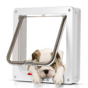 4-way Lockable Pet Cat Dog Access Door Locking Flap Magnetic Frame Screen S/M/L