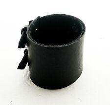 Schwarzes Leder Manschetten Wristbandarmband Doppelte schnalle verstellbar