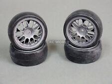 RC 1/10 Tamiya OEM CAR Tires Wheels Rims Set RACING SLICKS (4pcs)  -oo-