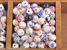 10pcs12mm Round Porcelain Ceramic Loose Spacer Big Hole Beads Charms Multi-color