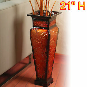 Tall Floor Vase Decorative Large Big Red Gold Flower Square Embossed Metal Home