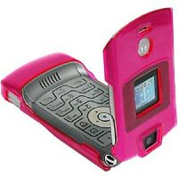 AMZER Hot Pink Protective Crystal Case With Belt Clip for Motorola V3i RAZR V3
