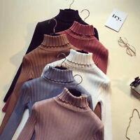 Korean Fashion Women Knitted Pullover Jumper Sweater Turtleneck Bottom Blouse