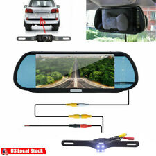 Wired Car Rear View Backup Parking System 7inch Mirror Monitor and Camera kit US