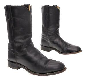 JUSTIN Cowboy Roper Boots 7.5 B Womens Vtg Black Leather Biker Motorcycle Boots