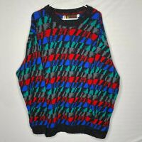 Vintage JERSILD Nordic Sweater Mens 2XL Coogi Style Wool Red Blue Green XXL EUC