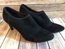 ECCO Women's Black Suede Heels Slip On Ankle Booties Pointy Size EU 38 US 7.5
