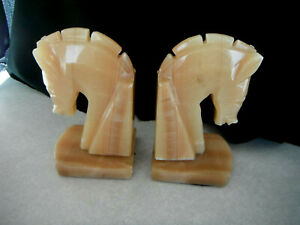 Vintage MARBLE HORSE BOOK ENDS