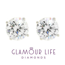 4 Ct Round Earrings Studs Brilliant Cut Screw Back Basket Solid 18k White Gold