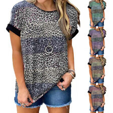 Women Crew Neck Short Sleeve T Shirt Leopard Print Blouse Loose Casual Tunic Top