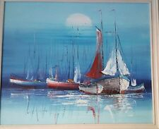 Boats seascape original oil painting impressionism art signed Leistikow Jr.