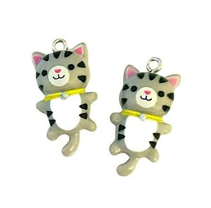 10 Grey Black White Striped 29x15mm Resin Cat Tiger Kids Bead Charms Pendants
