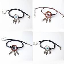 Fashion Women Black Nylon Cord Dreamcatcher Net Choker Wrap Pendant Necklace