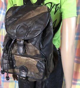 Vintage Black Brown Leather Patchwork Backpack Medium Size