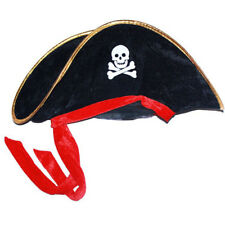 Black Pirate Captain Hat Cap with Skull Fancy Dress for Party One size for all