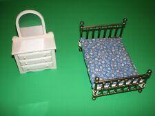 Vintage Fisher Price Dollhouse Bedroom Set Bed With Mattress, Dresser W/ Mirror