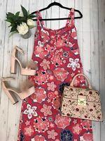 Mantaray size 10 maxi dress summer holiday pink floral strappy floor length VGC