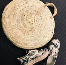 Round straw bag medium wicker basket natural Handles Kilim Basket Moroccan