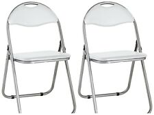 2x Padded FOLDING CHAIR STOOL Fold Away Flat Guest Home Office Extra Spare Seat