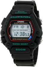 Casio DW-290-1V Mens Black Classic 200M WR Watch Sports Alarm Chronograph New
