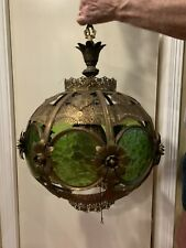 Stunning Round Mid-Century Brass Filagree Hanging Lamp With Green Glass Panels