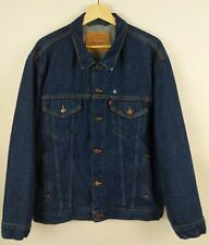 Vtg Levis Trucker Jean Jacket Men Sz 46 USA Dark Blue Denim 70s 71506 0216 FLAW