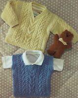 (781) Child's Aran Style Sweater and Slipover DK Knitting Pattern, 16-28''