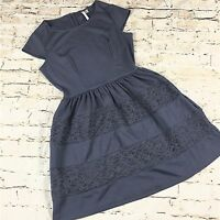 Lauren Conrad Fit & Flare Dress 8 Blue Knit Skater Graystone Lace Cap Sleeves