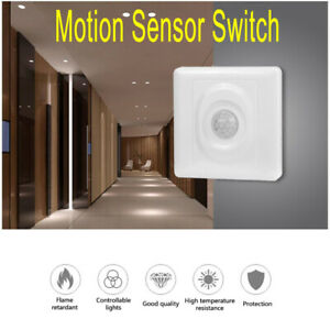 White Automatic Infrared PIR Body Motion Sensor Switch Wall Mount Light Control