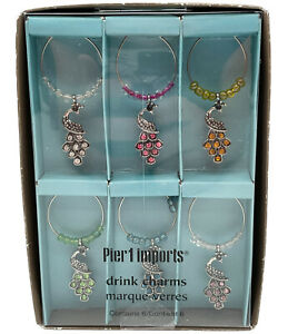 Pier One Imports Drink Charms w/ Colorful Crystal Peacocks Wine Glass Stemware 6
