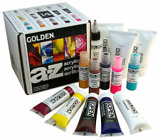 Golden A-z Artist Acrylic Paint Set 14 Pieces Colours and Mediums Last One