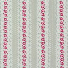 Baumwollstoff Dekostoff Stoff Rose Rosen Streifen Himbeere Taupe