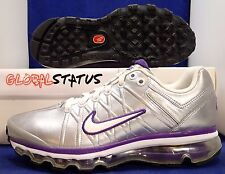 NIKE AIR MAX+ 2009 LEATHER METALLIC SILVER PURPLE RUNNING SHOES 401008 005 SZ 7
