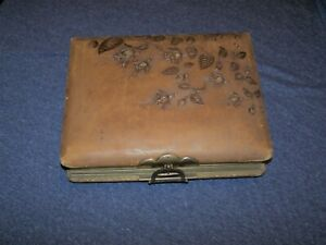 Fantastic Antique Leather Cabinet Photo Album With 28 Cabinet, 6 CDV, 2 Tintype