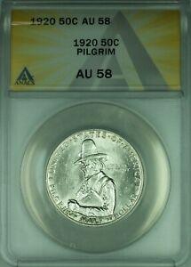 1920 Pilgrim Commemorative Silver Half Dollar 50c Coin ANACS AU-58 Luster (39A)