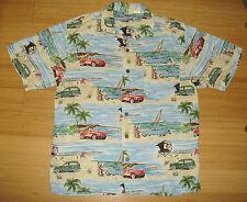 Vtg DISNEY MICKEY MOUSE Hawaiian Shirt Mini Palm Trees Cars Boats Aloha Sz M