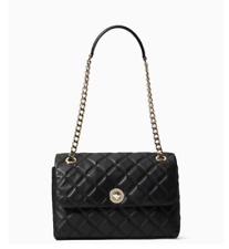 Kate Spade Natalia Medium Flap Crossbody Shoulder Black Leather Quilted CONV