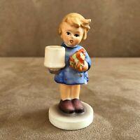 Candle holder Girl Goebel Hummel Figurine vintage flower bouquet nosegay 115
