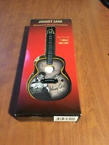 "Johnny Cash Guitar Musical Ornament ""I Walk the Line"" New Works & Lights Up"