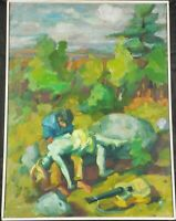 Original Abstract Oil Painting Orpheus & Eurydice by Rosemarie Beck Listed