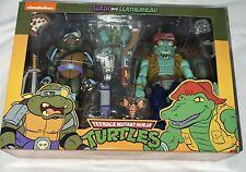 NECA TMNT Teenage Mutant Ninja Turtles & Slash Leatherhead 2 Set Figure Cartoon