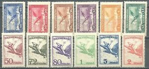 Hungary, 1927/30, Airmail, Turul, mythological bird of prey, cpl set of 12, MNH