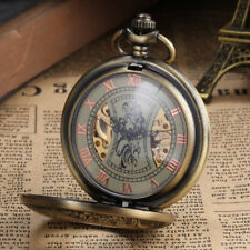 Retro Mens Pocket Watch Mechanical Alloy Bronze Case Unique Skeleton dial Gifts