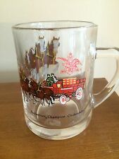 Budweiser Beer Clydesdales glass mug / Anheuser Busch EUC Collectible